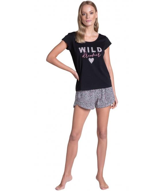 tiger piżama damska w tygrysie różowe cętki bawełniana krótka firmy henderson góra czarna z krótkim rękawem