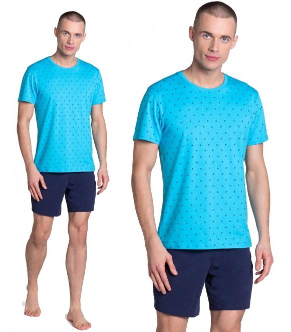 leaf błękitno granatowa piżama męska bawełniana firmy henderson koszulka z krótkim rękawem spodenki krótkie na gumce i wiązane