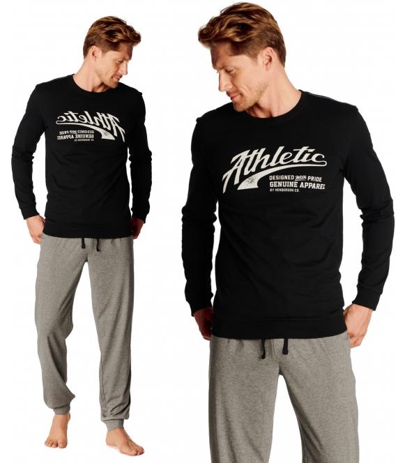 optimist elegancka piżama męska bawełniana góra czarna z długim rękawem i modnym białym nadrukiem na piersiach spodnie długie