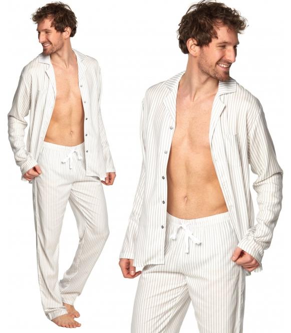 rossli lukaz zapinana na guziki piżama męska wiskozowa jasna w pionowe prążki długi rękaw długie spodnie