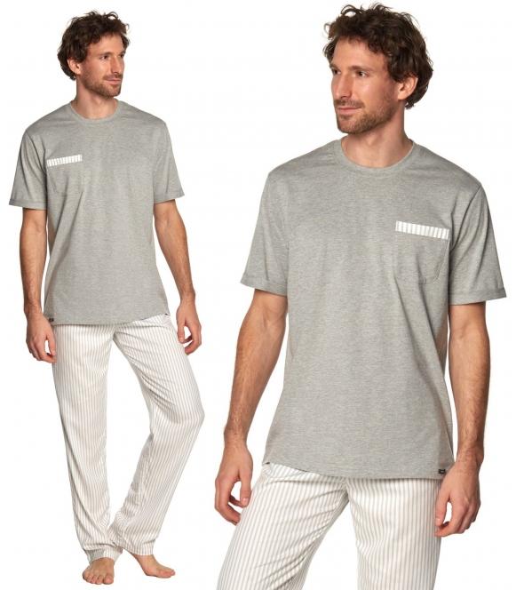rossli martin piżama męska prążkowane długie spodnie koszulka z krótkim rękawem i kieszonką na piersi