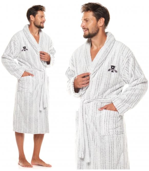frotowy ciepły szlafrok męski wiązany l&l winner 2059 elegancki z długim rękawem i naszytą aplikacją na piersi