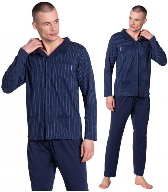 zander premium piżama męska zapinana na guziczki granatowa dwuczęściowa henderson  38363-59x długi rękaw i długie spodnie