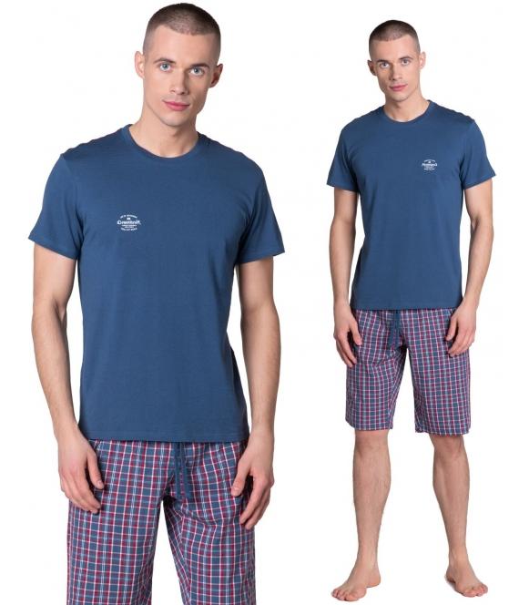 zeroth piżama męska z kraciastymi spodenkami do kolan góra granatowa z krótkim rękawem i nadrukiem na piersi henderson