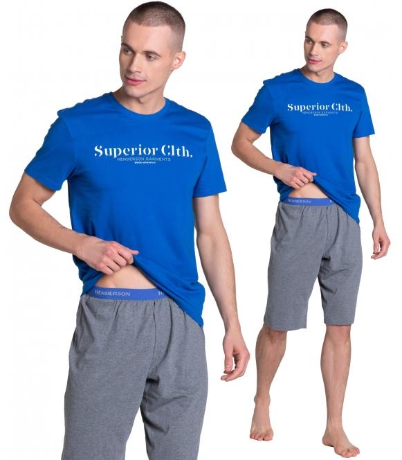 zed piżama męska z ozdobną drukowaną gumą w pasie firmy henderson koszulka z krótkim rękawem i napisem spodenki szare do kolan