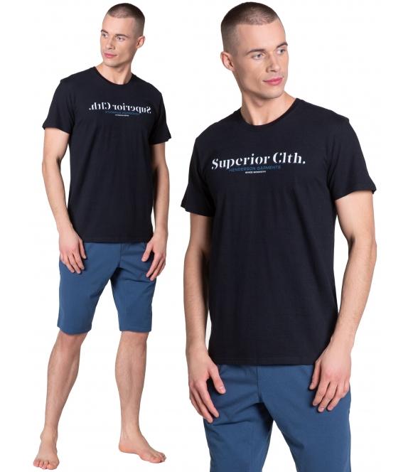 38366-99x czarno grafitowa piżama męska krótka z bawełny firmy henderson model zed krótki rękaw spodenki do kolan z gumką