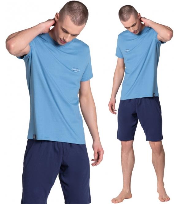 niebiesko granatowa piżama duty 38881-95x bawełniana męska firmy henderson koszulka krótki rękaw spodenki krótkie