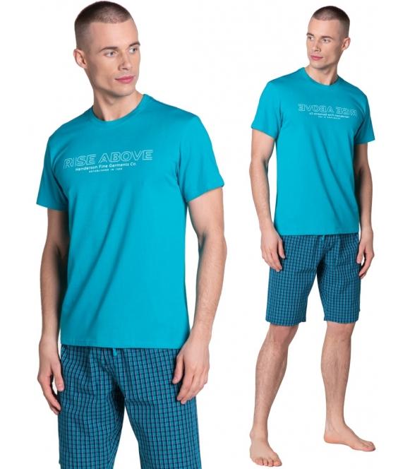 dojo piżama męska bawełna kraciaste spodnie do kolan koszulka turkusowa z nadrukiem na piersiach