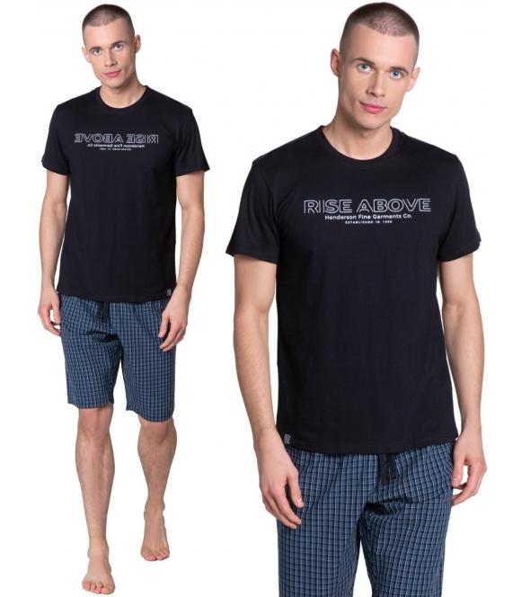 dojo henderson piżama męska z bawełny czarno granatowa ze spodniami w kratę nadruk na koszulce z krótkim rękawem