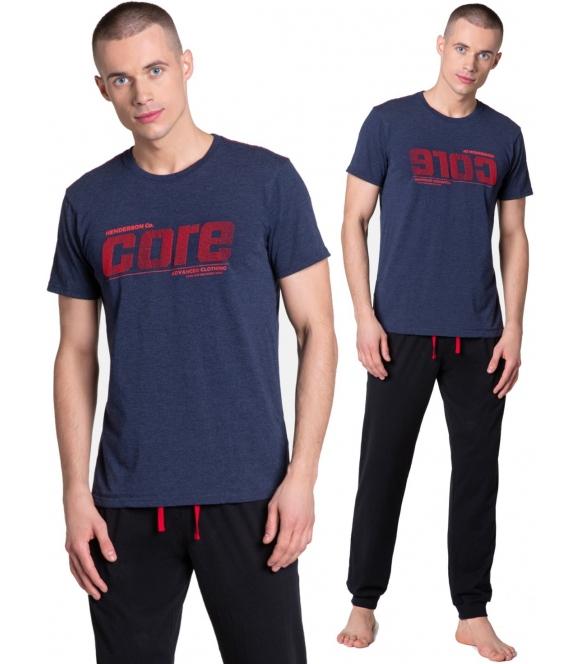 henderson sportowa piżama męska krótka z bawełny model onward dwuczęściowa granatowo czarna krótki rękaw