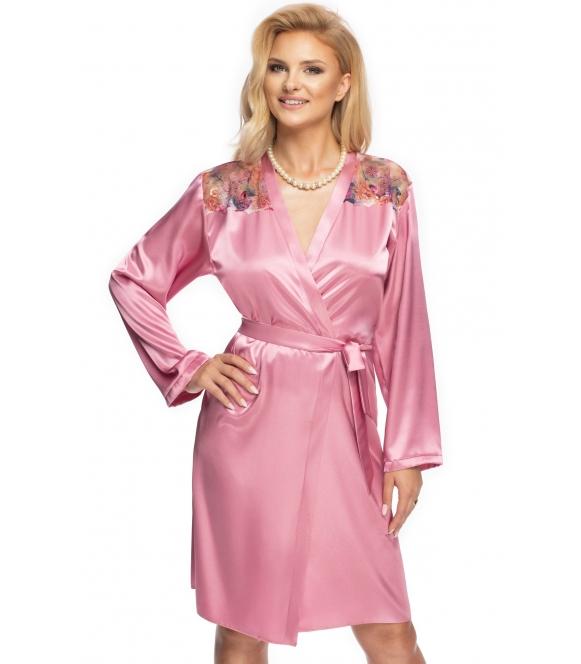 satynowy szlafrok peniuar damski shelby dusty rose firmy irall różowy z długim rękawem wiązany w talii