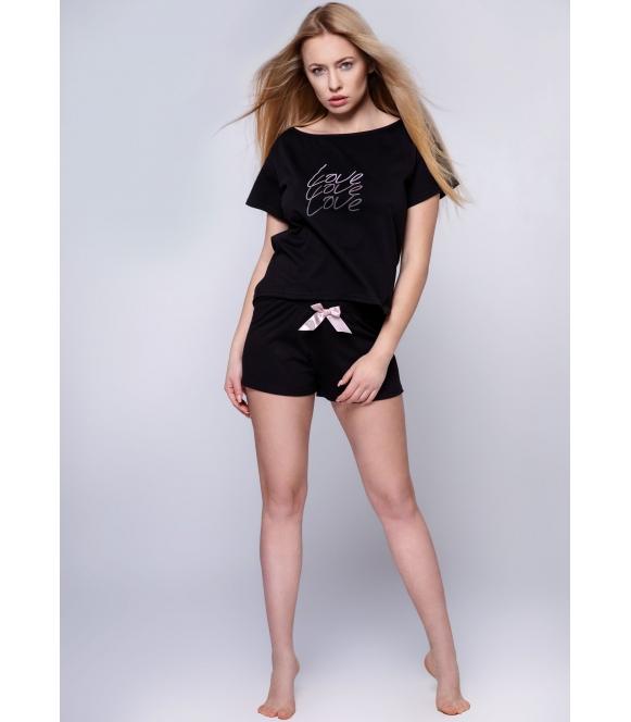 sensis amparo bielizna nocna piżama damska czarna bawełniana z krótkim rękawem spodenki krótkie z różową kokardą