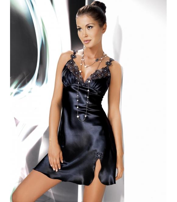 perłowo czarna satynowa koszulka nocna bielizna irall mirabelle z pięknym haftem