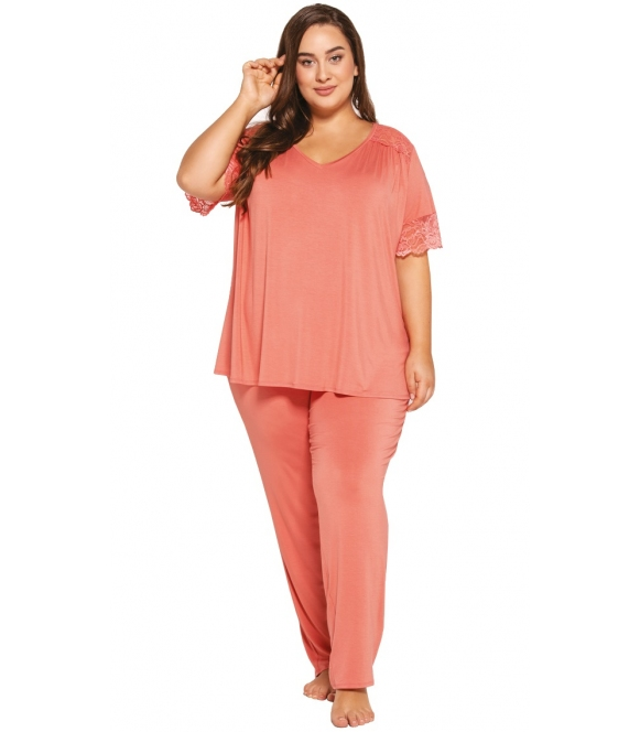 petra morelowa piżama plus size damska firmy babella krótki rękaw z koronką długie spodnie