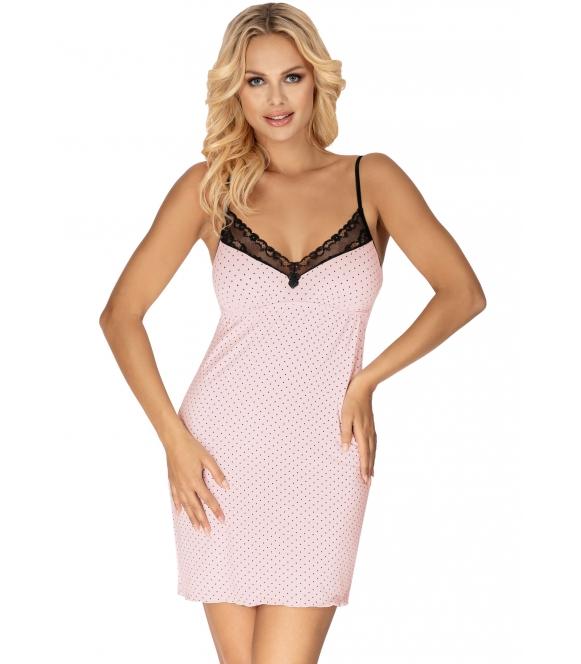 różowo czarna w kropki koszula nocna na ramiączkach z koronką donna alice pink