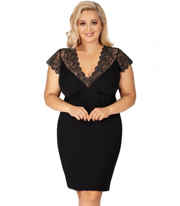 koszula nocna plus size sharon marki donna czarna z pięknymi koronkowymi wstawkami