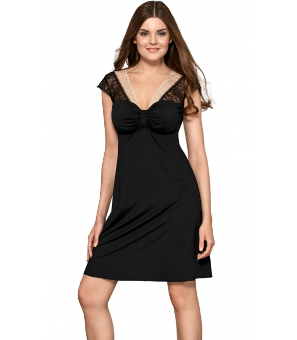 marisa 66 babella czarna koszulka nocna damska z koronkowym jaśniejszym dekolcie