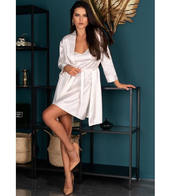 irall 007 perłowy szlafrok damski satynowy jasny z długim rękawem wiązany w talii edelina