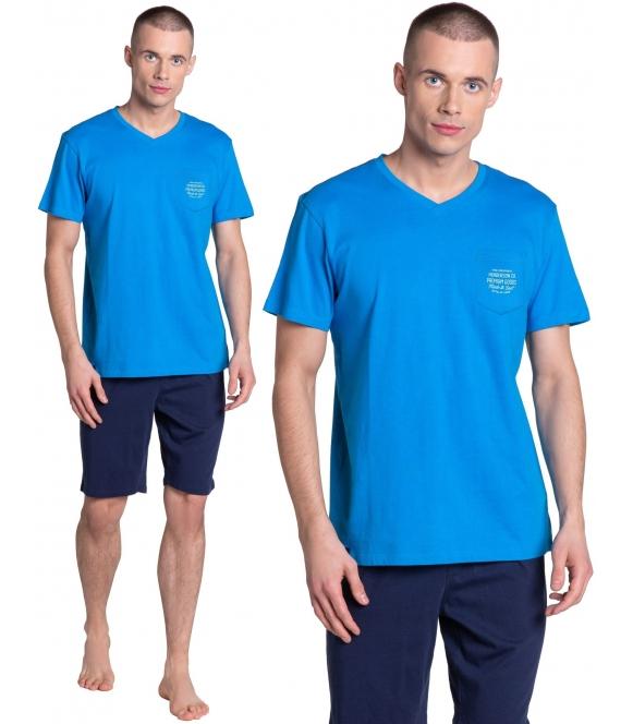 piżama męska premium henderson dodge 38882-55x bawełniana dwuczęściowa z krótki rękawem i szortami