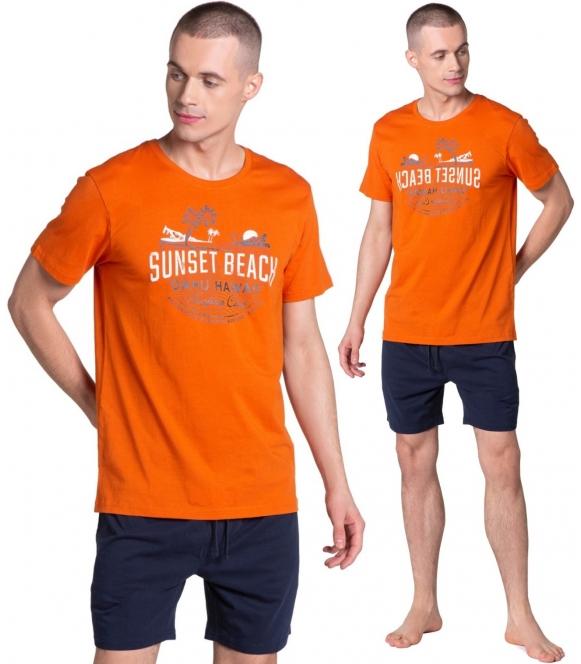 zaskakująca ciekawą kolorystyką piżama męska bawełniana henderson led krótka pomarańcz z granatem