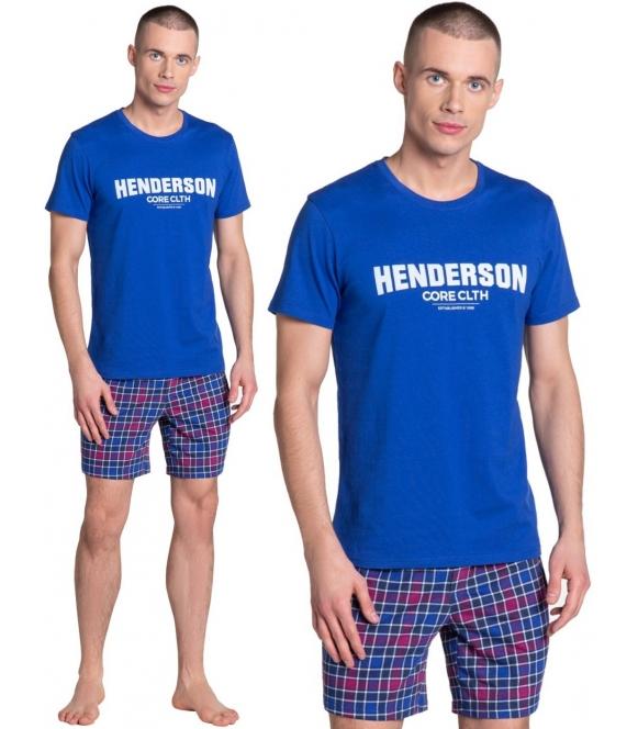 lid piżama męska z kraciastymi krótkimi spodenkami koszulka niebieska z napisem henderson