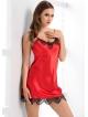 bielizna z włoskiej satyny koszulka nocna damska czerwona z czarną koronką cienkie ramiączka irall molly