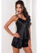 irall aria zmysłowy komplet bielizny damskiej satynowy czarny seksowny koszulka nocna na ramiączkach i krótkie szorty