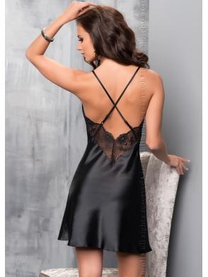 belizna nocna irall koszulka damska z włoskiej czarnej satyny i koronki seksowna i bardzo kobieca
