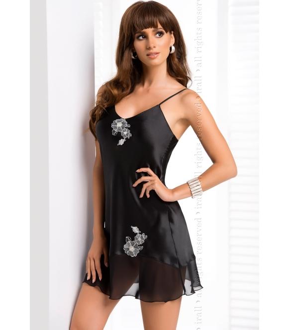 irall ida koszulka nocna satyna i haftowane jasne kwiaty bielizna w kolorze perłowym czarnym z cienkimi ramiączkami