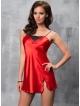 seksowna czerwona bielizna koszulka nocna damska czerwonej satyny i czarnej koronki irall tara