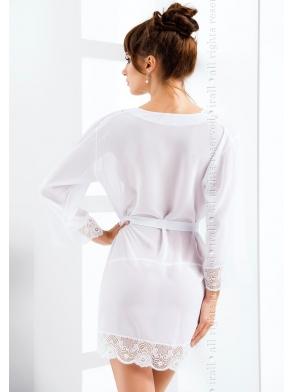 tiulowy z koronką szlafrok damski biały seksowny wiązany w talii długi rękaw irall cassidy