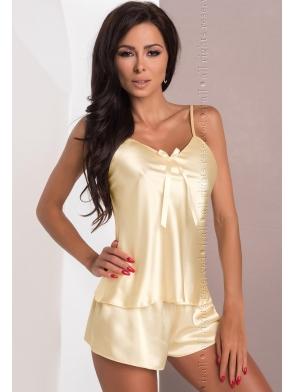 irall aria seksi komplecik bielizny satynowej damskiej kolor kremowy koszulka i krótkie szorty