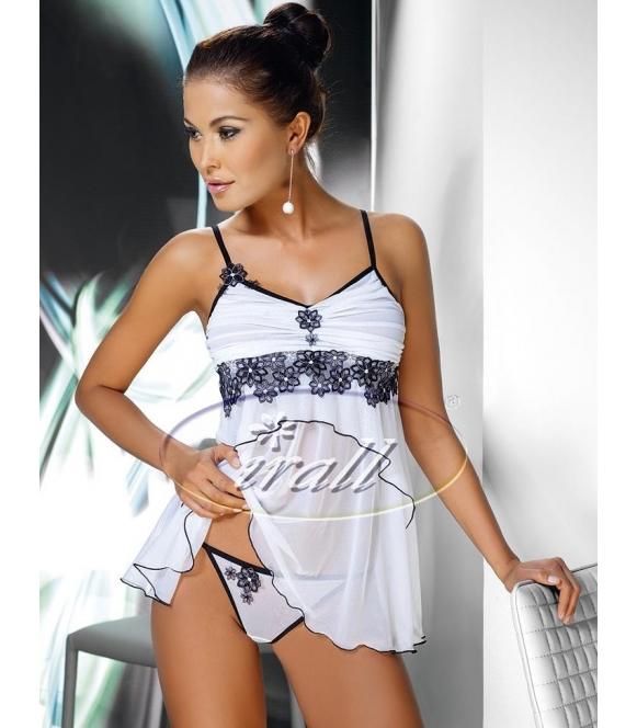 czarno biały seksowny komplet bielizny damskiej irall mirabelle koszulka nocna seksowna i stringi