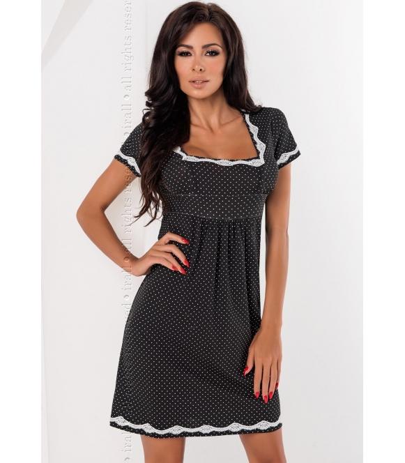 irall czarna w kropki koszulka nocna luba damska  elegancka i seksowna z krótkim rękawem