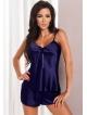 irall komplet bielizny z włoskiej satyny granatowy piżama damska krótka dwuczęściowa granatowa model aria