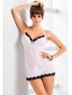 irall venus szyfonowy komplet bielizny damskiej seksowna koszulka nocna ba ramiączkach i stringi w kolorze ecru