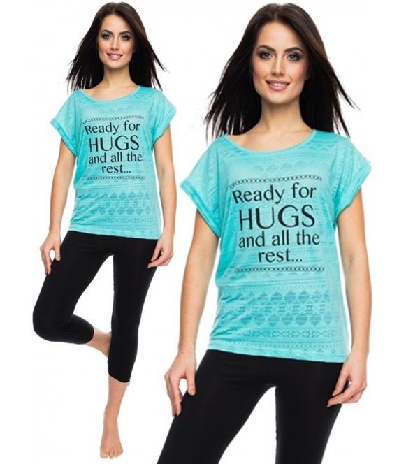 błękitno czarna piżama damska bawełniana z krótkim rękawem i spodniami 3/4 rossli ready for hugs