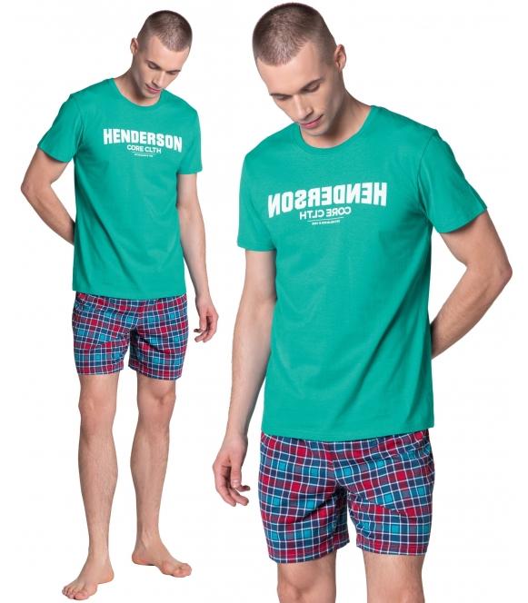 lid piżama męska krótka zielono niebieska koszulka krótki rękaw nadruk na piersiach spodenki krótkie w kratę henderson