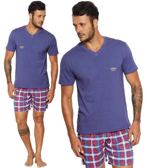 reno modna piżama męska kraciaste krótkie spodenki koszulka z krótkim rękawem i napisem na piersi firma henderson