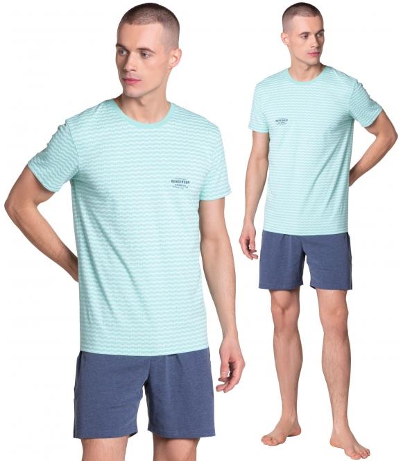 lobe miętowo niebieska piżama męska krótka z bawełny koszulka z poziomym wzorkiem krótki rękaw szoty gładkie krótkie henderson