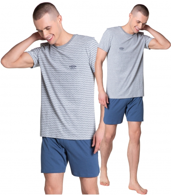 38875 lobe piżama męska bielizna dwuczęściowa do spania bawełniana firmy henderson koszulka krótki rękaw szorty krótkie