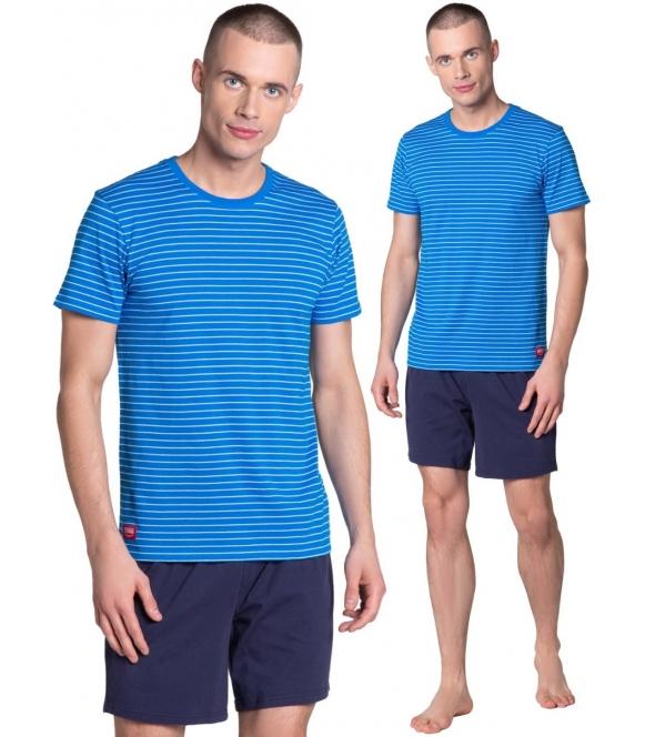 lane piżama męska w paski bawełniana granatowo niebieska firmy henderson krótki rękaw krótkie spodenki