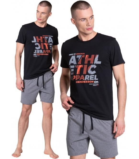 athletic sportowa piżama męska bawełniana marki henderson czarna koszulka z krótkim rękawem i nadrukiem szorty przed kolana