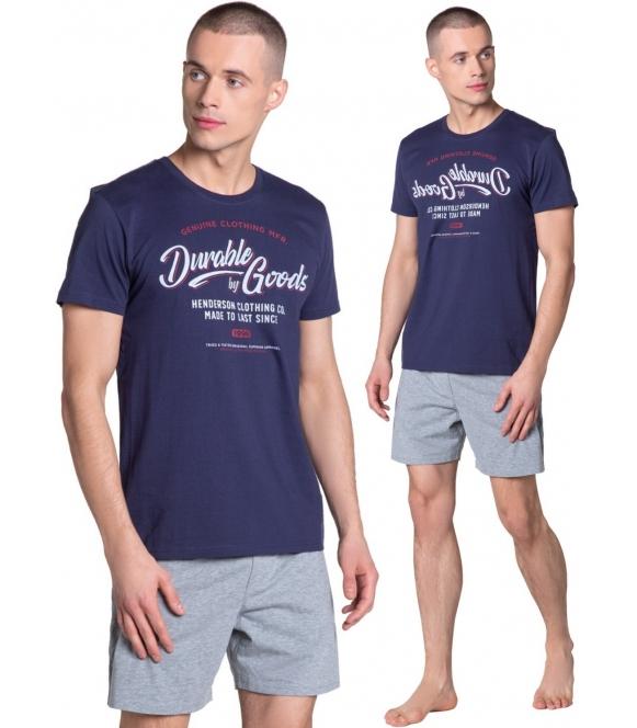 laze 05 sportowa piżama męska z bawełny dwuczęściowa koszulka granatowa i krótkim rękawem i nadrukiem spodenki krótkie henderson