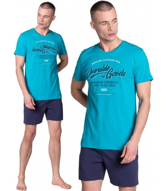 modna sportowa piżama męska laze firmy henderson niebiesko granatowa krótka koszulka z krótkim rękawem spodenki granatowe