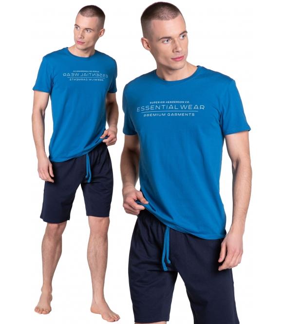 deal piżama męska z wiązanymi w pasie szortami koszulka niebieska krótki rękaw z napisem po środku henderson