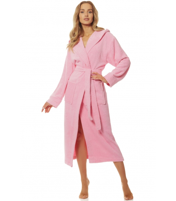 l&l 2102 różowy kąpielowy szlafrok damski długi wiązany w talii i z kieszeniami po bokach