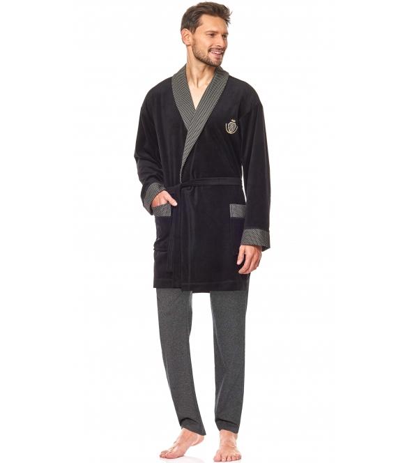 czarny welurowy szlafrok męski krótki wiązany w pasie l&l 9101 bj