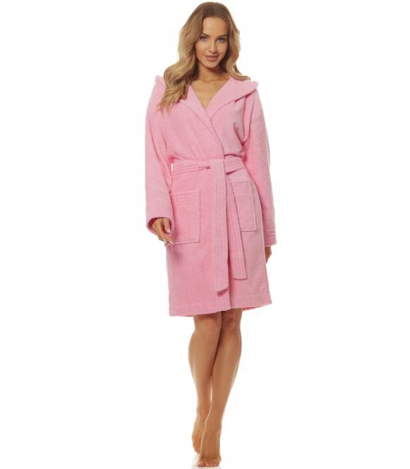 l&l frottowy szlafrok damski 100% bawełna kąpielowy w kolorze różowym kaptur i dwie kieszenie po bokach