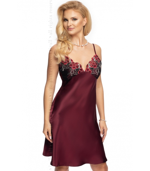 irall śliwkowa koszulka nocna włoska satyna i piękne hafty na biustonoszu cienkie regulowane ramiączka model elodie